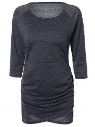 Chic Pure Color Ruched Bodycon Dress For Women - DEEP GRAY XL
