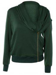 Stylish Long Sleeve Front Zip Up Slant Cowl Neck Sweatshirt -