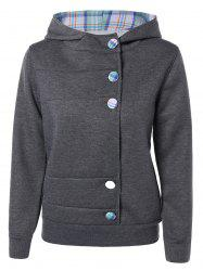 Colorful Button Pocket Hooded Coat -