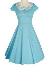 Retro Lace Spliced Faux Collar Fit and  Flare Dress