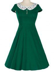 Retro Lace Spliced Faux Collar Fit and  Flare Dress - GREEN