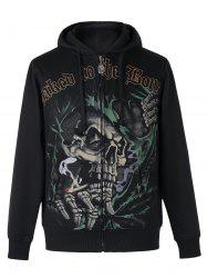 Active Skull Print Zipper Flying Long Sleeve Thicken Hoodie For Men - BLACK 3XL