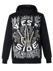 Active Letter and Leaves Print Zipper Flying Long Sleeve Thicken Hoodie For Men -