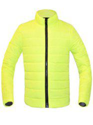 Solid Color Zip Up Stand Collar Long Sleeve Down Coat For Men - NEON BRIGHT GREEN