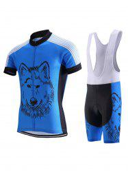 Wolf Print Stripe Spliced Zip-Up Stand Collar Cycling Suit ( T-Shirt + Bib Shorts ) For Men - LIGHT BLUE
