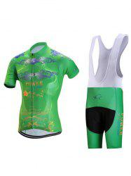 Floral and Letter Print Zip-Up Stand Collar Cycling Suit ( T-Shirt + Bib Shorts ) For Men -