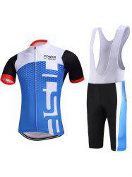 Color Block Spliced Geometric Print Zip-Up Stand Collar Cycling Suit ( T-Shirt + Bib Shorts ) For Men - BLUE