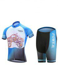 Paisley Car Print Zip-Up Stand Collar Cycling Suit ( T-Shirt + Shorts ) For Men -