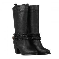 Vintage Weaving and Buckle Design Boots For Women - BLACK