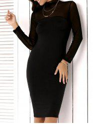 High Neck Mesh Insert Long Sleeve Bodycon Dress - BLACK
