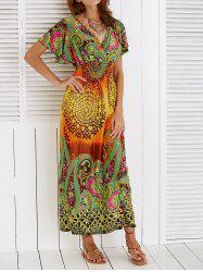 Bohemian Ethnic Print Short Sleeve Maxi Dress - ORANGE