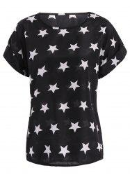 Elegant Plus Size Rolled Sleeve Stars Pattern Top For Women