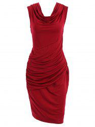 Cowl Neck Sleeveless Draped Jersey Dress - WINE RED