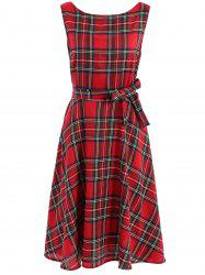 Vintage Jewel Neck Sleeveless Plaid Belted Flared Dress For Women -