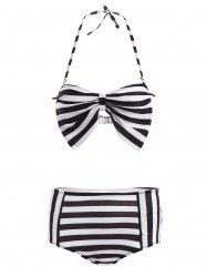 Halter Stripe High Waisted Bikini Set