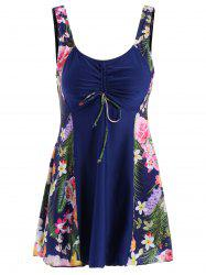 Chic Scoop Collar Leaf Print Plus Size One-Piece Women's Swimsuit - PURPLISH BLUE