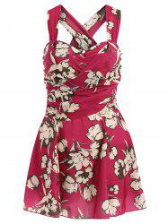 Fresh Style Draped One-Piece Floral Swimwear For Women -