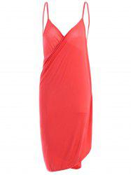 Beach Wrap Slip Dress Cover Up - WATERMELON RED