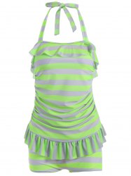 Halter Striped Ruffle Tankini