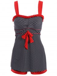 Polka Dot Skirted Boxers Tankini Swimsuit
