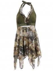 Fashionable Halter Figure Print Two-Piece Swimsuit For Women - ARMY GREEN