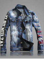 Polka Dot Letter Print Button Up Long Sleeve Ripped Denim Jacket For Men