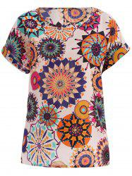 Tribal Bohemian Plus Size Scoop Neck Floral Print Blouse For Women - WHITE