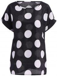 Casual Plus Size Scoop Neck Polka Dot Pattern Short Sleeves Blouse For Women