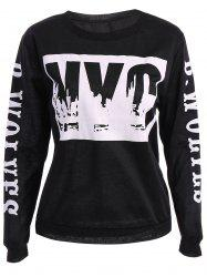 Street Jewel Neck Letter Print Long Sleeve Women's Sweatshirt -