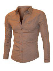 Pinstriped Turn-down Collar Long Sleeve Shirt For Men -
