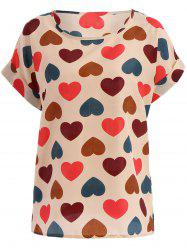 Stylish Plus Size Scoop Neck Colorful Heart Pattern Blouse For Women