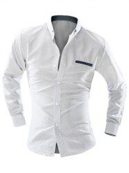 Polka Dot Double Welt Breast Pocket Long Sleeve Button-Down Shirt For Men - WHITE 2XL