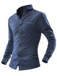 Polka Dot Double Welt Breast Pocket Long Sleeve Button-Down Shirt For Men - CADETBLUE