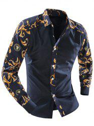 Ornate Print Splicing Turn-down Collar Long Sleeve Shirt For Men - CADETBLUE