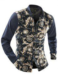 Ornate Print Long Sleeve Button-Down Shirt For Men - BEIGE