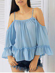 Ruffled Spaghetti Strap Cold Shoulder Blouse