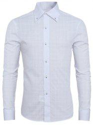 Grid Pattern Long Sleeve Button-Down Shirt For Men - WHITE L