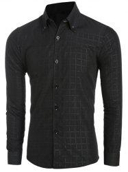 Grid Pattern Long Sleeve Button-Down Shirt For Men