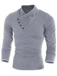 Side Button Surplice Long Sleeve T-Shirt For Men - LIGHT GRAY L