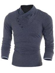 Side Button Surplice Long Sleeve T-Shirt For Men - DEEP GRAY