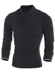 Side Button Surplice Long Sleeve T-Shirt For Men