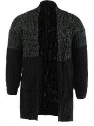Color Spliced Collarless Long Sleeve Cardigan For Men - BLACK AND GREY XL