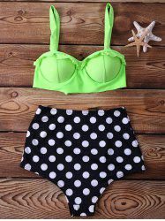 High Waisted Spaghetti Strap Polka Dot Print Two-piece Swimsuit For Women