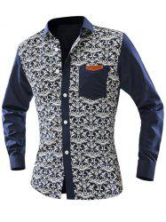 Ornate Print Pocket Front Long Sleeve Shirt For Men