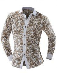 Paisley Ornate Print Turn-down Collar Long Sleeve Shirt For Men - BEIGE