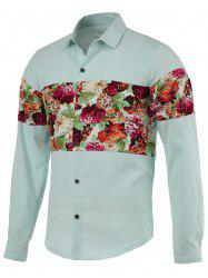 Flowers Printed Splicing Design Turn-Down Collar Long Sleeve Shirt For Men -