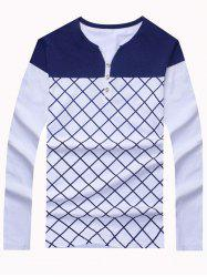 Fashion Color Blocks Long Sleeve Checked Tee For Men