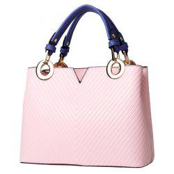 Stylish Metal Ring and Color Block Design Tote Bag For Women -