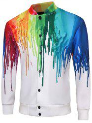 Snap Button Up Multicolor Print Long Sleeve Jacket For Men - WHITE 5XL