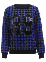 Trendy Sequin Embellished Geometric Pattern Women's Sweatshirt - BLUE XL